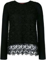Max Mara lace overlay knitted top