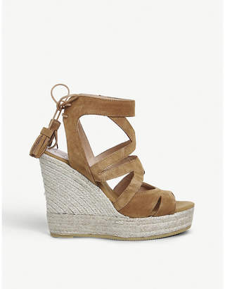 Office Kanna Berti Back Tie suede wedge sandals