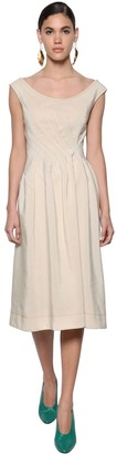 Marni Viscose Woven Midi Dress W/buttoned Back