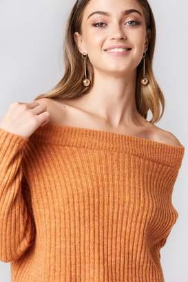 NA-KD Off Shoulder Rib Knitted Sweater Orange