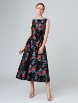 Oscar de la Renta Floral Jacquard Taffeta Dress