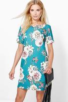 Boohoo Una Floral Cap Sleeve Shift Dress