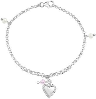 Aeravida Handmade Loving Heart and Faux Pearl Charms Shell Sterling Silver Bracelet