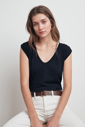 Velvet by Graham & Spencer Jayden Cotton Slub Scoop Neck Tee