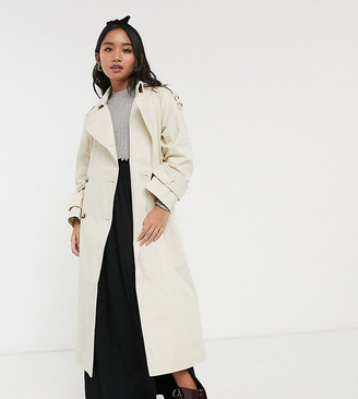 ASOS DESIGN Petite longline trench coat in stone