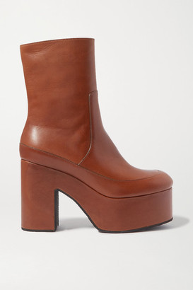 Dries Van Noten Leather Platform Ankle Boots - Tan