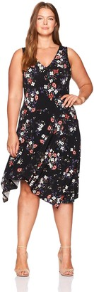 Rachel Roy Women's Plus Size V-Neck Daisy Print Dress