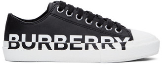 Burberry Black Gabardine Two-Tone Logo Sneakers