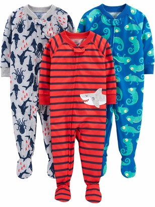 Carter's Simple Joys by 3-pack Loose Fit Flame Resistant Polyester Jersey Footed Pajamas Sleepers