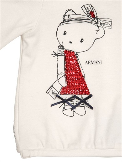 Armani Junior Printed Sequines Jersey T-Shirt