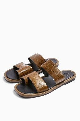 Topshop HOVE Khaki Leather Sandals