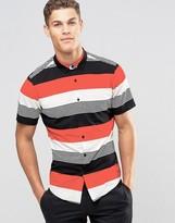 Asos Shirt In Multicolored Block Stripe In Regular Fit