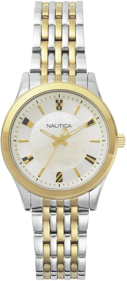 Nautica Men's Venice Stainless Steel Quartz Sport Watch with Leather Calfskin Strap Beige 18 (Model: NAPVNC004)
