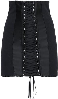Dolce & Gabbana High Waist Stretch Satin Mini Skirt