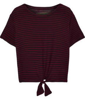 Enza Costa Tie-front Cropped Striped Stretch-jersey T-shirt