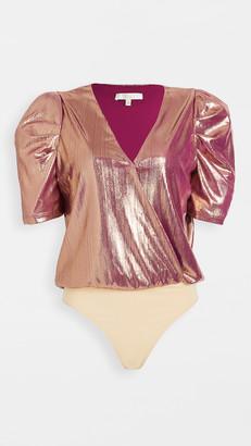 WAYF Emma Puff Sleeve Thong Bodysuit