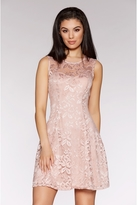 Quiz Dusky Pink Sweetheart Lace Skater Dress