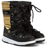 Moon Boot Quilted Black and Gold Snow Boot