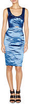 Nicole Miller Crinkled Metallic Pleated Sheath Dress