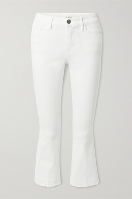 Frame Le Pixie Crop Frayed High-rise Bootcut Jeans - White