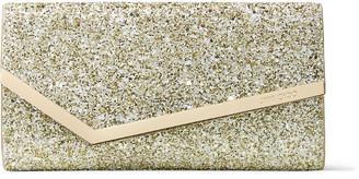 Jimmy Choo EMMIE Moon Sand Infinity Glitter Fabric Clutch Bag
