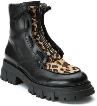 Ash Lynch Leopard-Print Zip Combat Boots