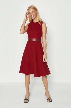 Coast Pu Panelled Ponte Fit And Flare Dress