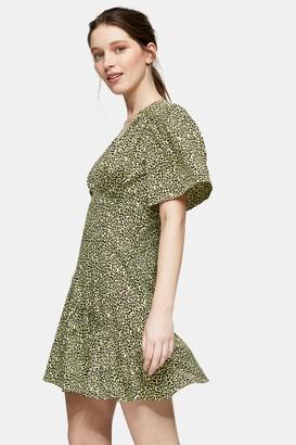 Topshop PETITE Lime Green Angel Sleeve Mini Dress
