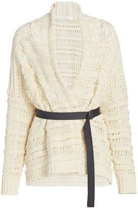 Brunello Cucinelli Chunky Open-Weave Cotton Wrap Cardigan