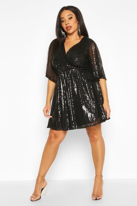 boohoo Plus Sequin Kimono Sleeve Skater Dress