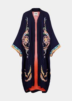 Essentiel Dark Blue Neon Embroidered Kimono - 36
