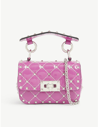 Valentino Rockstud micro quilted patent leather cross-body bag