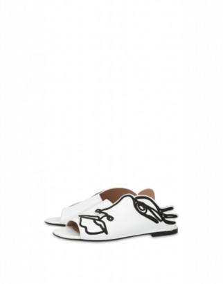 Moschino Woman's Drawing Flat Sandals Woman White Size 38 It - (8 Us)