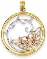 Bijou 14k Yellow Rose Gold Diamond Cut Butterfly Pendant