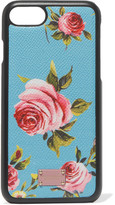 Dolce & Gabbana Printed Textured-leather Iphone 7 Case - Light blue