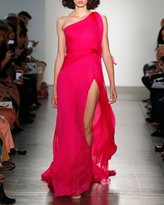 Pamella Roland One-Shoulder Hand Pleated & Draped Silk Chiffon Evening Gown