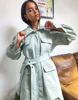 GHOSPELL oversized belted shacket co-ord