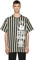 Kokon To Zai Black and Beige Striped Logo T-shirt