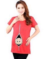 Zhuhaixmy Funny Baby Print Maternity Women T-Shirts O-Neck Short Sleeve Pregnant