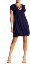 Socialite Lace-Up Neck Swing Dress