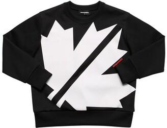 DSQUARED2 Leaf Printed Cotton Blend Sweatshirt