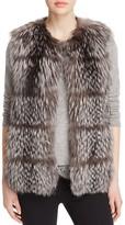Maximilian Furs Collarless Fox Fur Vest