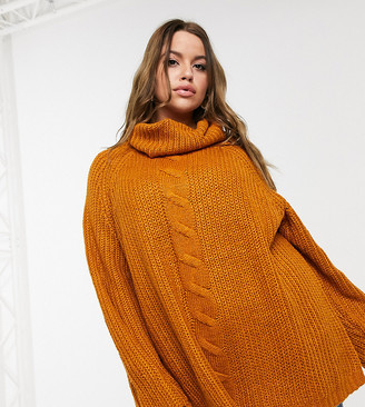 Only Curve roll neck jumper in mustard