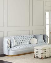 "Haute House Elisa Marble Inlay Tufted Sofa, 113"""