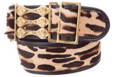Fendi Leather-Trimmed Ponyhair Belt