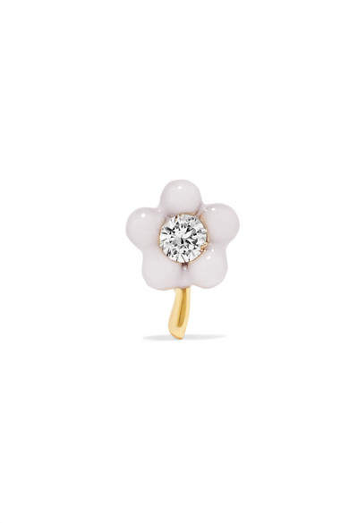 Alison Lou Tiny Flower 14-karat Gold, Diamond And Enamel Earring