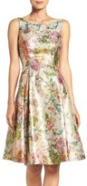 Adrianna Papell Women's Metallic Floral Jacquard Fit & Flare Dress