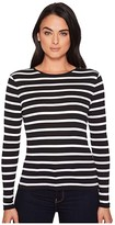 Lauren Ralph Lauren Striped Button-Shoulder Top (Black/White) Women's Clothing