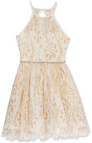 Rare Editions Metallic-Lace Dress, Girls (7-16)