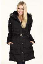 DKNY Faux Fur Trim Hood Quilted Coat (Black) - Apparel